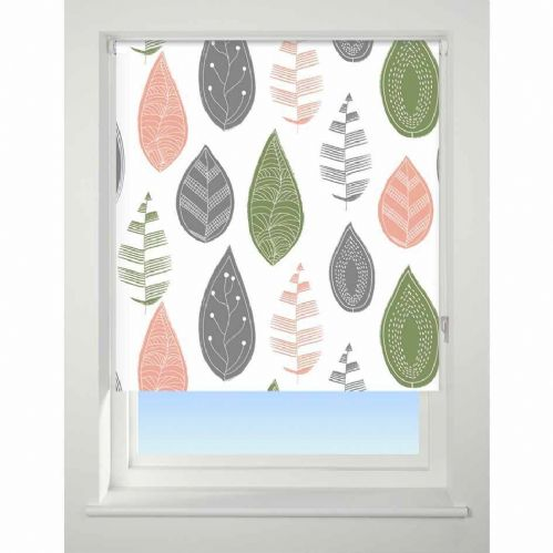 Universal Patterned Blackout Roller Blind - Leaf Multi